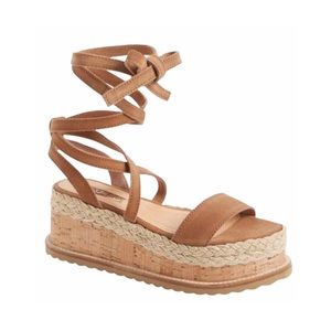Topshop Suede Wedge Espadrilles Ankle Wrap Sand 10